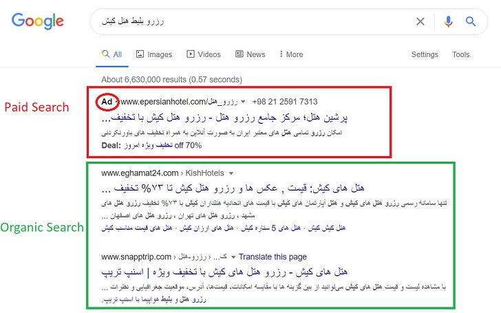تفاوت organic search با paid search