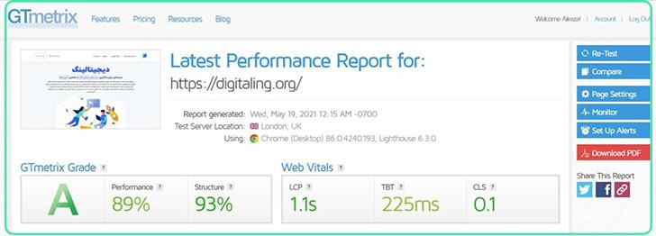 سنجش سرعت سایت دیجیتالینگ با ابزار GTmetrix