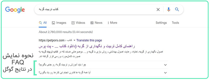 faq در نتایج گوگل