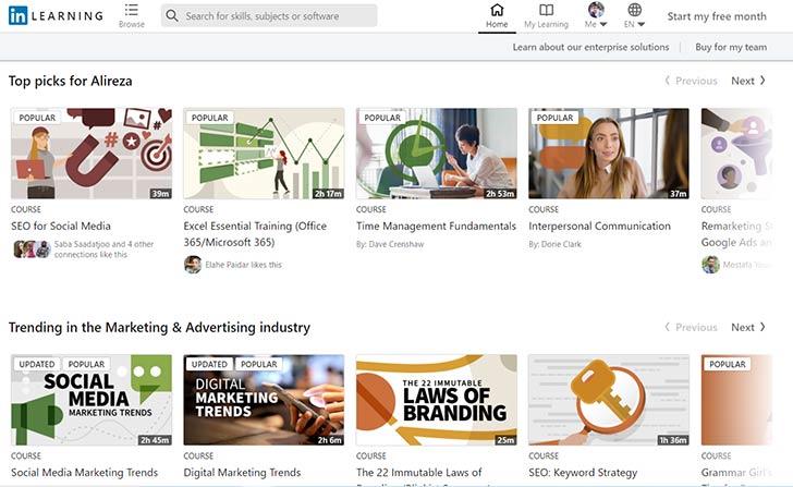 دسترسی کامل به وبدئوهای آموزشی در لینکدین پریمیوم