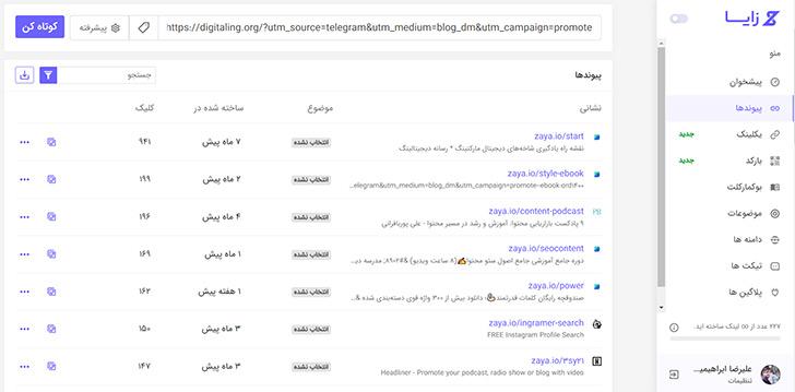 ساخت لینک utmدار در سایت زایا